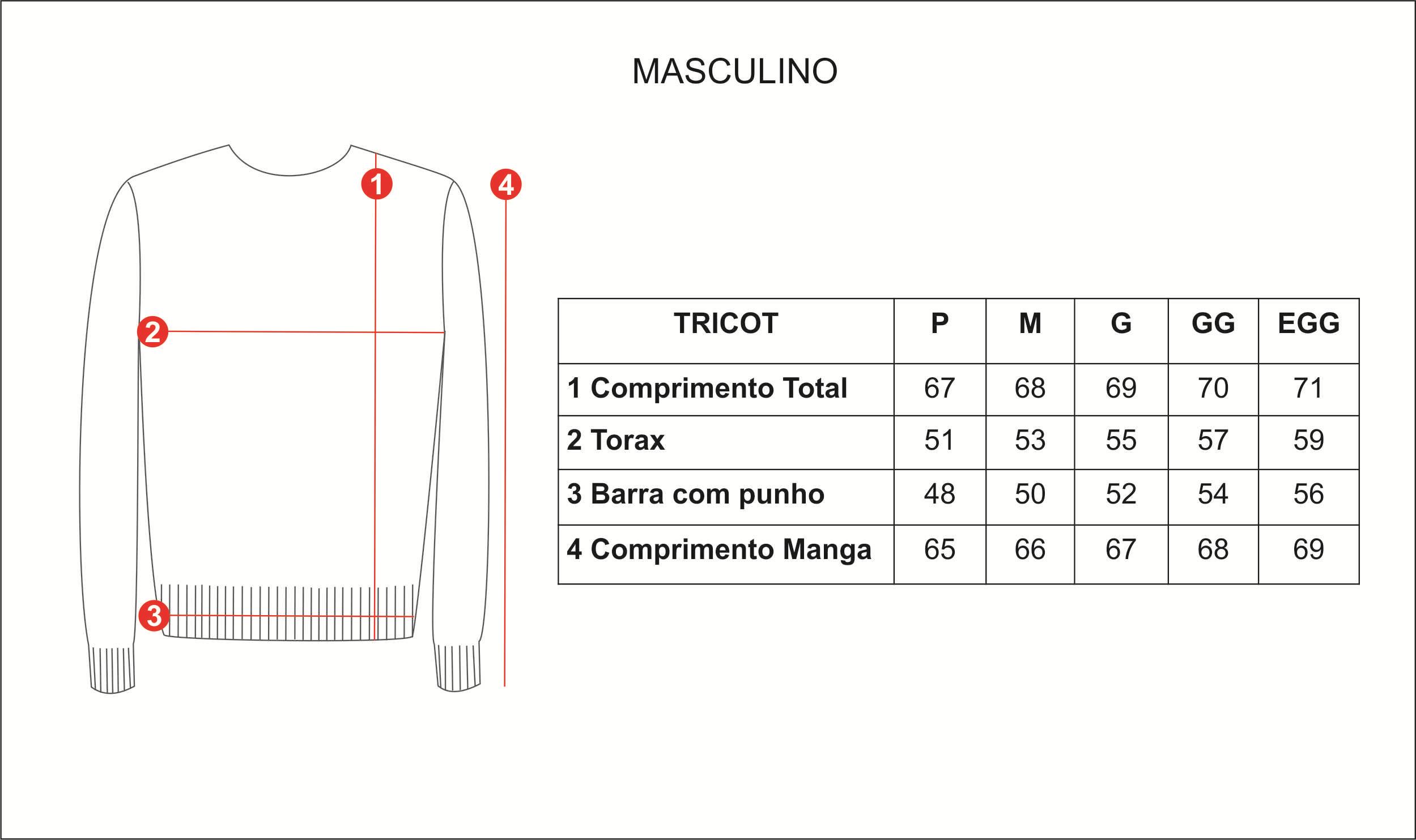 tabela de medidas homem